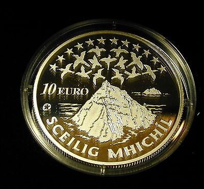 Ireland: Ten  Euro Silver  Proof Coin. Skellig Michael 2008