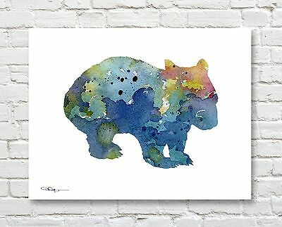 Wombat Abstract Watercolor Painting Art Print by Artist DJ Rogers