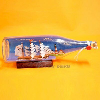 """11"""" Handcrafted Ship in a bottle with Background Sailboat Marine Home Decor"""