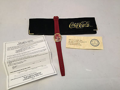 1980's RARE Coca-Cola Coke Wristwatch Watch Leather Band in Case