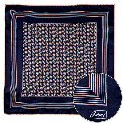 Men's BRIONI Blue Orange Geometric Silk Hand Rolled Pocket Square Handkerchief