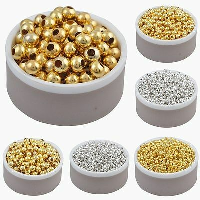 Wholesale Silver/Gold Plated Round Smooth Spacer Beads 2.5/3/4/5/6mm