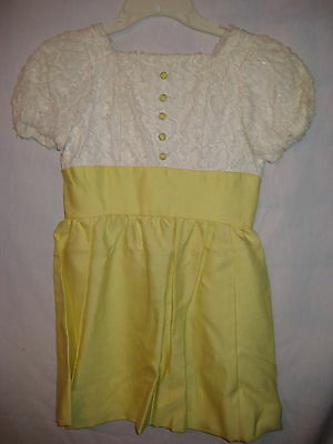 VINTAGE 1950s 60s GIRL'S DRESS-WHITE LACE OVERLAY BODICE-LEMON YELLOW SKIRT-M