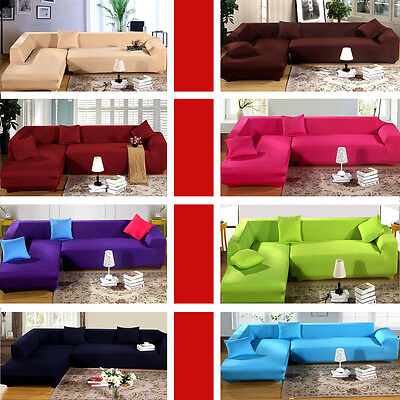 Pure Color 2 3 Seater Elastic Lounge Stretch Couch Sofa Cover For L-shaped Sofa