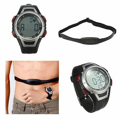 Pulse Heart Rate Monitor Calorie Counter Watch + Chest Belt Gym Fitness Sport