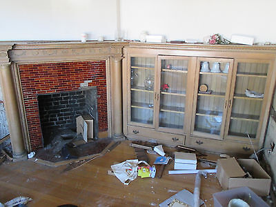 Antique Oak Fireplace Mantel With Bookcases ~ 42 Opening ~ Architectural Salvage