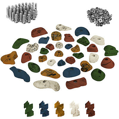 35 Climbing Holds in a Starter Set for Children, Screws and 100 T-Nuts included