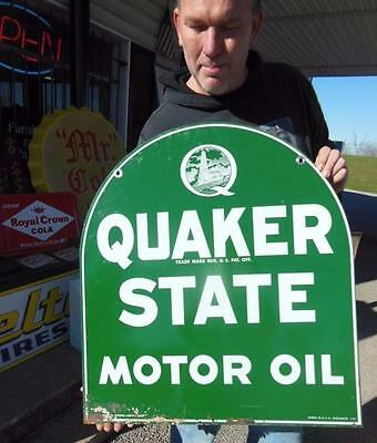 1970's  Quaker State Motor Oil Double Sided Garage Gas Station Service Sign