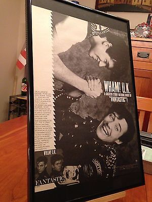 "Big 11X17 Framed Original & Rare Wham! U.k. ""fantastic"" Lp Album Cd Promo Ad"
