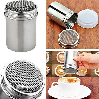 Flour Icing Sugar Cappuccino Sifter + Lid Chocolate Shaker Cocoa Stainless Steel