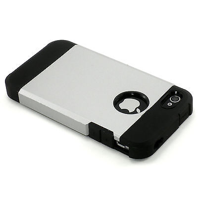 New Silver Dual Layer Hard Case Cover + Screen Guard For iPhone 4 4S 4G