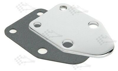 Chrome Fuel Pump Block Off Plate With Gasket - SB Small Block Chevy