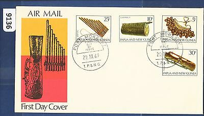 1969 Papua New Guinea FDC Musical Instruments (4) Port Moresby  (9136)