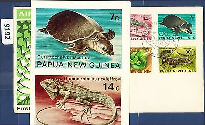 1972 PNG FDC Fauna Conservation - Reptiles (4)  with Brochure (9192)