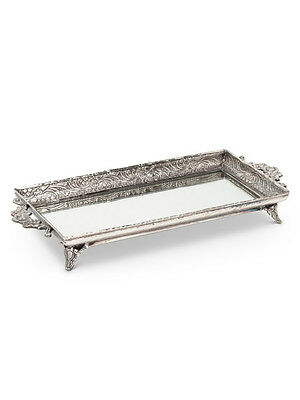 """Antique-Style 9"""" Glass & Engraved Brass Rectangular Footed Mirror Vanity Tray"""