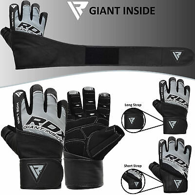 RDX Goat Leather Weight Lifting Body Building Gym Gloves Training Long Straps B
