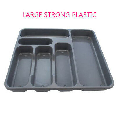 6 Compartment Cutlery Tray Organiser Tidy Holder Storage Insert Drawer Plastic