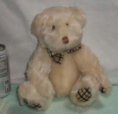 "12"" PRINCESS SOFT TOYS Plush JOINTED Stuffed CREAM BEAR Plaid PAWS & BOW"