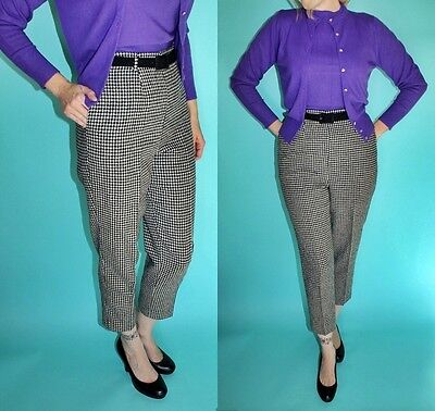Vtg 50s 60s BLACK Ivory HOUNDSTOOTH check High Waist Crop Pin Up Trousers PANTS
