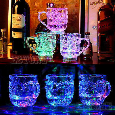 New Glasses Beer Cup Dragon LED Inductive Rainbow Color Flashing Light Glow Mugs