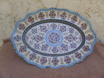 """Vintage Persian Oval Metal Enamel Hand Painted Footed Tray Dish Flowers 14"""" TLC"""