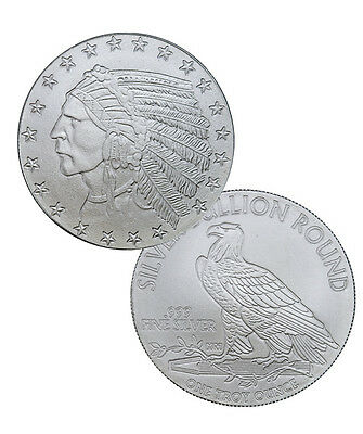 Indian Head Incuse 1 Troy Oz .999 Fine Silver Round Highland Mint SKU35813
