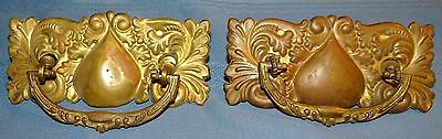 Set 2 Antique Pressed Brass ORNATE Dresser Cabinet Drawer Pulls Hardware Parts