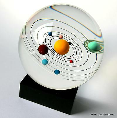 "Orrery Model Solar System Inside Giant 80mm (3.25"") Glass Marble - 9 Planets"