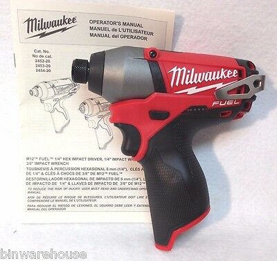 Milwaukee 2453-20 NEW M12 FUEL 12V Cordless Li-Ion 1/4 in. Hex Impact Driver