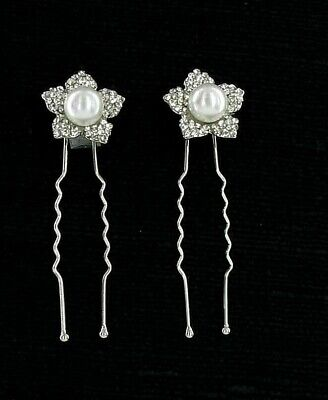 Four White Faux Pearl & Clear Crystal Flower Floral Hair Stick Pin Bridal New