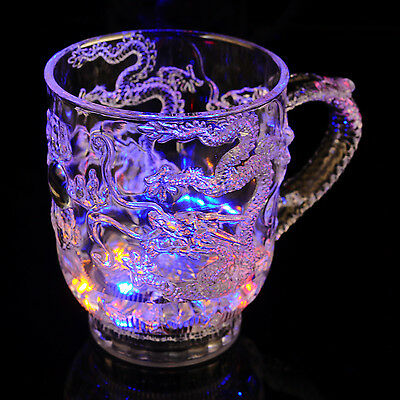 Dragon LED Light Flashing Water Liquid Wine Beer Mug Drink Cup Barware
