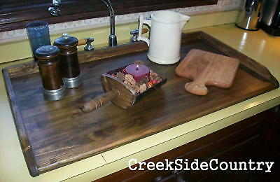 PRIMITIVE Bread Board LG Kitchen Sink Cover 2 inch rails - STAINED