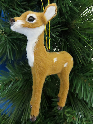 Fawn Baby Deer Furry Christmas Tree Ornament New Holiday Gift Stocking Stuffer