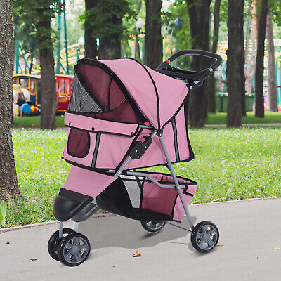 PawHut Pushchair Carrier Pet Stroller Dog Cat Puppy Jogging w/ 3 Wheels Pink NEW