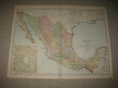 Huge Gorgeous Folio Size Antique 1898 Mexico Texas Railroad Map Sea Port Valley