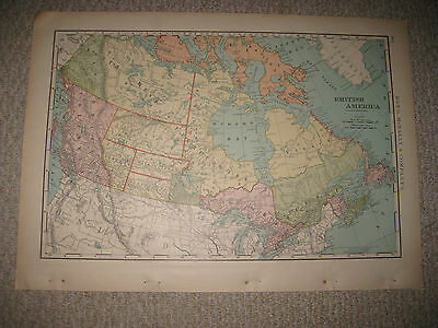 Huge Folio Size Antique 1898 British America Canada Map Manitoba Columbia Albert