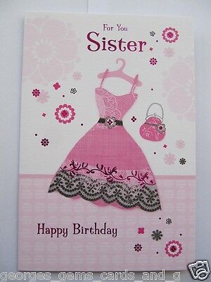 Wonderful Colourful Party Dress For You Sister Birthday Greeting Card