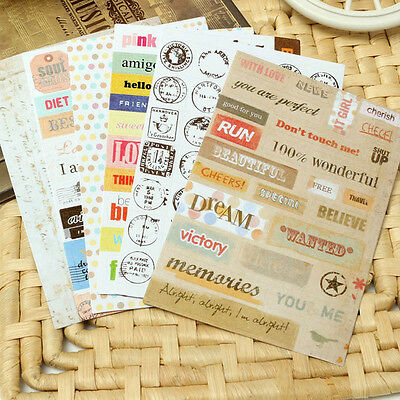 6 Sheets Letter Calendar Scrapbook Paper Sticker Photo Diary Planner Decor