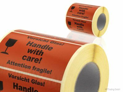 "1.000 Warnetiketten ""Vorsicht Glas! Handle with care! Attention fragile"" (10)"