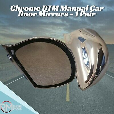 Chrome DTM Manual Car Door Mirrors - 1 Pair