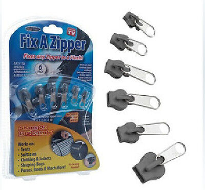 6Pc Universal Instant Fix A Zipper Repair Replacement Slider Teeth Rescue Sewing