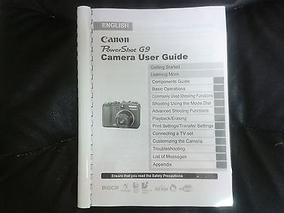 Canon Powershot G9 Full User Manual Guide Instructions  Printed 274 Pages A5