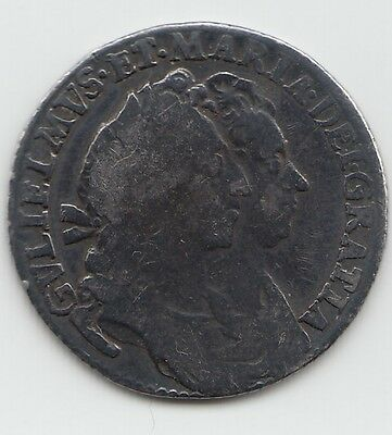 Very Rare 1693 Silver Sixpence 6d - William & Mary
