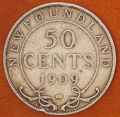 1909 Canada Newfoundland 50 Cents KM# 11 Sterling Silver Edward VII Coin