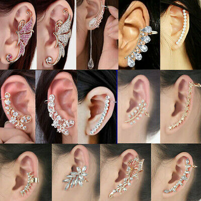 Women Retro Ear Cuff Clip Stud Fashion Punk Rhinestone Cartilage Earring Jewelry