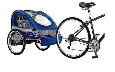 Schwinn Trailblazer Bicycle Bike Trailer Double w/ Stroller Kit Blue/Gray
