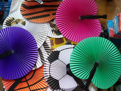Assorted Folding Paper Hand Held Personal Fan Set of 6