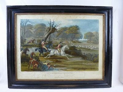 "(B442) Colorierte Lithografie ""the young english fox hunter"" Charles Hunt 1840"