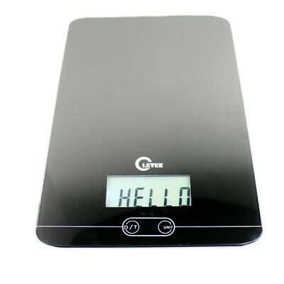 11 LBS / 5KG Slim Digital Kitchen Scale Diet Food Scale with Glass Top - Black