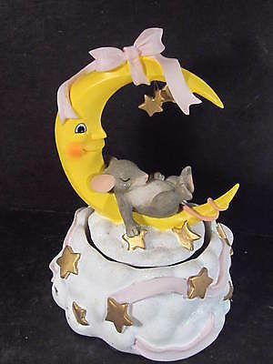 Charming Tails MOON & STARS MUSIC BOX Sleeping Mouse 93/601 Twinkle Twinkle